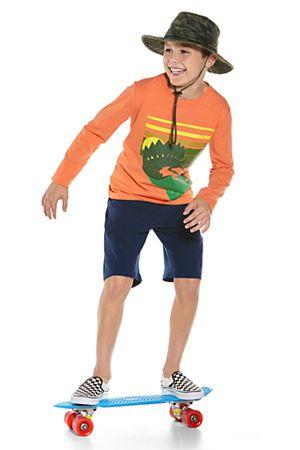 Boy's Long Sleeve Graphic T-Shirt & Tech Swim Trunks Outfit