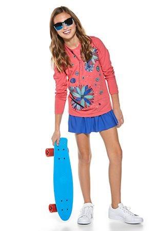 Girl's Long Sleeve Graphic T-Shirt & Wavecatcher Swim Skirt Outfit