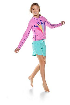 Girl's Long Sleeve Surf Rash Guard & Surf Board short Outfit
